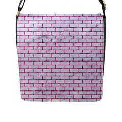 Brick1 White Marble & Pink Marble (r) Flap Messenger Bag (l)  by trendistuff