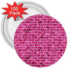 Brick1 White Marble & Pink Marble 3  Buttons (100 Pack)
