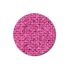 Brick1 White Marble & Pink Marble Rubber Coaster (round)