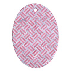 Woven2 White Marble & Pink Watercolor (r) Ornament (oval)