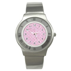 Woven2 White Marble & Pink Watercolor (r) Stainless Steel Watch by trendistuff