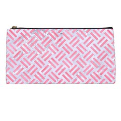 Woven2 White Marble & Pink Watercolor (r) Pencil Cases by trendistuff