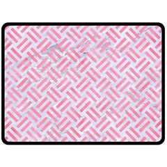 Woven2 White Marble & Pink Watercolor (r) Fleece Blanket (large)