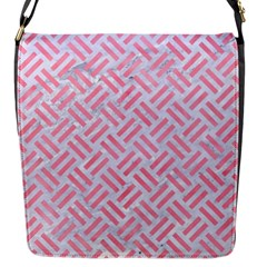 Woven2 White Marble & Pink Watercolor (r) Flap Messenger Bag (s)