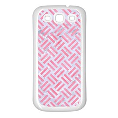 Woven2 White Marble & Pink Watercolor (r) Samsung Galaxy S3 Back Case (white)