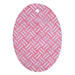 Woven2 White Marble & Pink Watercolor Ornament (oval)