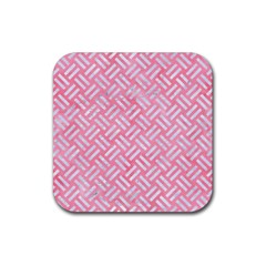Woven2 White Marble & Pink Watercolor Rubber Square Coaster (4 Pack)