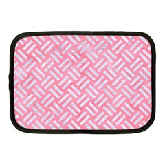 Woven2 White Marble & Pink Watercolor Netbook Case (medium)  by trendistuff