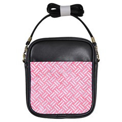 Woven2 White Marble & Pink Watercolor Girls Sling Bags