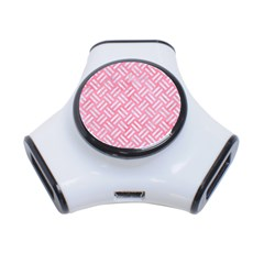 Woven2 White Marble & Pink Watercolor 3 Port Usb Hub