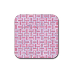 Woven1 White Marble & Pink Watercolor (r) Rubber Coaster (square)