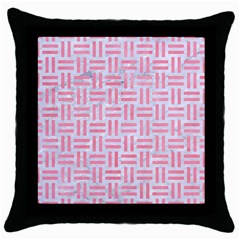 Woven1 White Marble & Pink Watercolor (r) Throw Pillow Case (black)