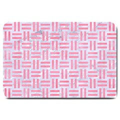 Woven1 White Marble & Pink Watercolor (r) Large Doormat