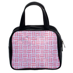 Woven1 White Marble & Pink Watercolor (r) Classic Handbags (2 Sides)
