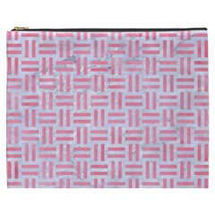 Woven1 White Marble & Pink Watercolor (r) Cosmetic Bag (xxxl)