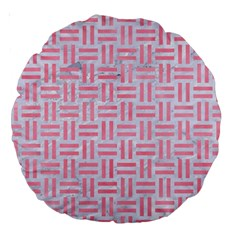 Woven1 White Marble & Pink Watercolor (r) Large 18  Premium Round Cushions