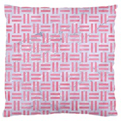 Woven1 White Marble & Pink Watercolor (r) Large Flano Cushion Case (one Side)