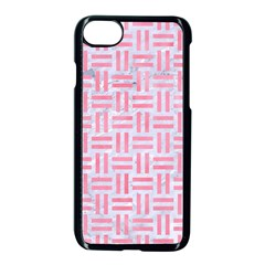 Woven1 White Marble & Pink Watercolor (r) Apple Iphone 7 Seamless Case (black)