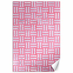 Woven1 White Marble & Pink Watercolor Canvas 24  X 36