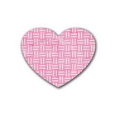 Woven1 White Marble & Pink Watercolor Rubber Coaster (heart)