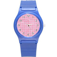 Woven1 White Marble & Pink Watercolor Round Plastic Sport Watch (s)