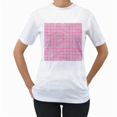Woven1 White Marble & Pink Watercolor Women s T Shirt (white)