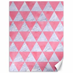 Triangle3 White Marble & Pink Watercolor Canvas 18  X 24