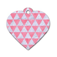 Triangle3 White Marble & Pink Watercolor Dog Tag Heart (two Sides)