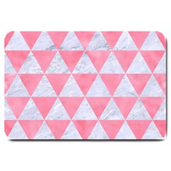Triangle3 White Marble & Pink Watercolor Large Doormat
