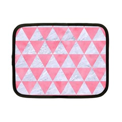 Triangle3 White Marble & Pink Watercolor Netbook Case (small)