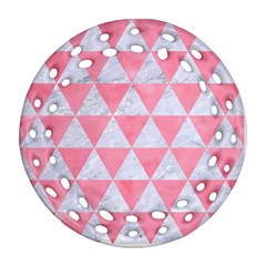 Triangle3 White Marble & Pink Watercolor Round Filigree Ornament (two Sides)