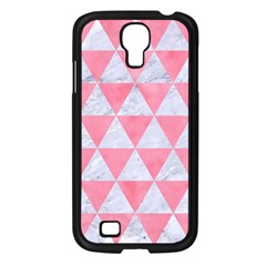Triangle3 White Marble & Pink Watercolor Samsung Galaxy S4 I9500/ I9505 Case (black)