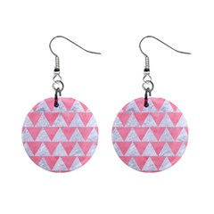 Triangle2 White Marble & Pink Watercolor Mini Button Earrings