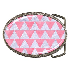 Triangle2 White Marble & Pink Watercolor Belt Buckles