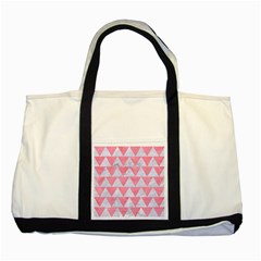 Triangle2 White Marble & Pink Watercolor Two Tone Tote Bag