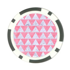 Triangle2 White Marble & Pink Watercolor Poker Chip Card Guard (10 Pack)