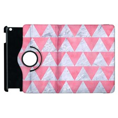 Triangle2 White Marble & Pink Watercolor Apple Ipad 3/4 Flip 360 Case
