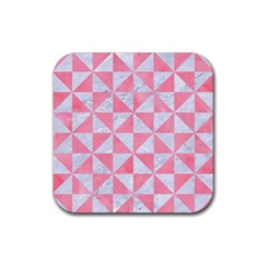 Triangle1 White Marble & Pink Watercolor Rubber Square Coaster (4 Pack)