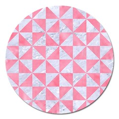Triangle1 White Marble & Pink Watercolor Magnet 5  (round)