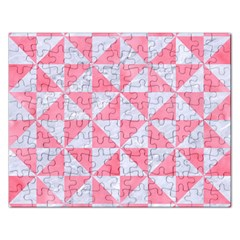 Triangle1 White Marble & Pink Watercolor Rectangular Jigsaw Puzzl by trendistuff