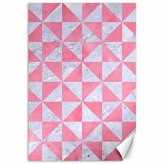 Triangle1 White Marble & Pink Watercolor Canvas 12  X 18