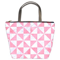Triangle1 White Marble & Pink Watercolor Bucket Bags