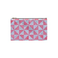 Triangle1 White Marble & Pink Watercolor Cosmetic Bag (small)