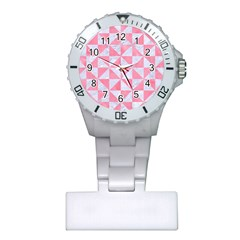 Triangle1 White Marble & Pink Watercolor Plastic Nurses Watch