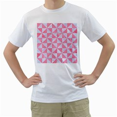 Triangle1 White Marble & Pink Watercolor Men s T Shirt (white)