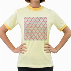 Tile1 White Marble & Pink Watercolor (r) Women s Fitted Ringer T Shirts