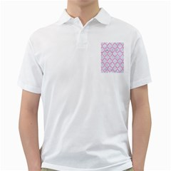 Tile1 White Marble & Pink Watercolor (r) Golf Shirts