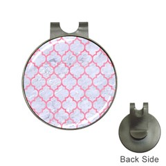 Tile1 White Marble & Pink Watercolor (r) Hat Clips With Golf Markers