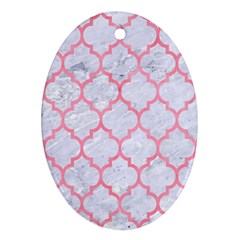 Tile1 White Marble & Pink Watercolor (r) Oval Ornament (two Sides)