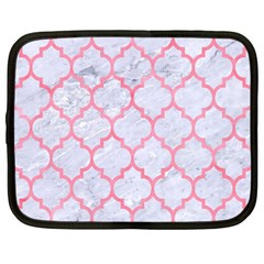 Tile1 White Marble & Pink Watercolor (r) Netbook Case (large)